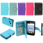 For LG Sunrise L15G Lucky L16C Leather Flip Magnetic Card Wallet Cover Case +Pen