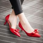 Elegant Women's Pointed Toe Bowtie Slip On High Heel Dating Dress Shoes Pumps