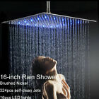 16-inch LED Shower Head Ceiling/Wall Mount Brushed Nickel Rain Square Sprayer
