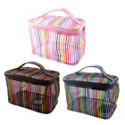 Zipper Closure Rectangle Potable Rainbow Stripe Mesh Cosmetic Bag Case w Mirror