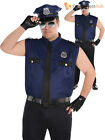 Adult Mens Police Officer Costume Policeman New York Cop Fancy Dress Uniform