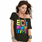 80s Party Girl Retro Black 1980s T-Shirt - Fancy Dress I Love 2 Party Ladies Top