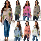 New Ladies Italian Lagenlook Quirky Blossom Print Baggy Top Size 12 14 16 18