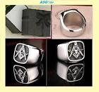 Masonic Signet Stainless Steel Ring Square/Compass, Skull. G/Box Size-9, 11, 12
