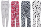 Ladies Womens Fleece Pyjama Pants Bottoms Lounge Trousers Grey Black White Pink