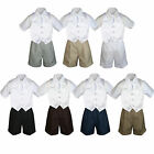 4pc Set Boy Toddler Formal White Vest and Necktie Black Navy Khaki Shorts S-4T