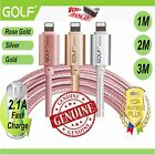 Golf 1m 3m 2m Lightning Metal Sync Charger Cable Iphone Apple 7 6s 6 plus Ipod