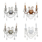Vintage French 2 Branch Cut Glass Crystal Chandelier Candle Style Wall Lighting