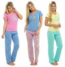 Ladies Summer Pyjamas 100% Cotton T-Shirt Low V Neck Blue Pink Aqua Yellow Motif