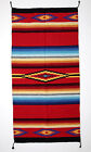 "Fine Hawkeye Woven Rug Blanket Navajo 100% Recycled Cotton Fiber Woven 32"" x 64"""