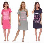 Ladies Jersey Cotton Nightie Summer Plain Motif Nightdress Navy Blue Grey Pink