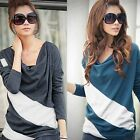 Women Ladies Casual Loose Long Sleeve Batwing Stripe Top Blouse Shirt  M-XXL
