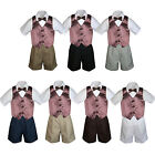 4pc Set BoyToddler Formal Party Brown Vest and Bow tie White Khaki Shorts S-4T