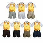 4pc Set Boy Toddler Formal Yellow Vest and Bow tie White Black Khaki Shorts S-4T