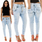New Womens High Waist Zipped Button Drop Crotch Denim Jeans Size 6 8 10 12 14 M