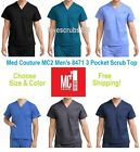 Med Couture MC2 Men's 8471 3 Pocket Scrub Top Choose Size & Color Free Shipping!