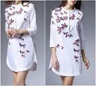 2016 New Women Fashion three-dimensional butterfly embroidered dress shirt wild