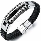 Men\'s Biker Leather Stainless Steel Magnetic Bracelet Bangle Cuff High Quality