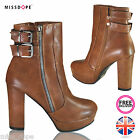 NEW STRAP BROWN ANKLE WOMENS HIGH HEEL PLATFORM BOOTS LADIES SHOES ZIP CHUNKY UK