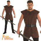 Adult Medieval Tunic Brown Mens Viking Warrior Fancy Dress Outfit New