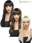 Ladies Long Straight Beauty Wig with Fringe Adult Fancy Dress Accessory Womens
