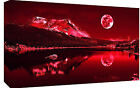 Red Tones Moonlit Lake Cotton Canvas Wall Art Picture Print - A1, A2 sizes
