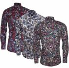 Relco Mens Paisley Floral Long Sleeved Red Blue Green Button Down Collar Shirt