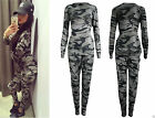 New Womens Ladies Army Camouflage Print Jogging Suit Stretchy Lounge Tracksuit