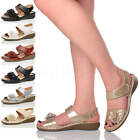 WOMENS LADIES LOW WEDGE HOOK&LOOP STRAP FLOWER SLINGBACK COMFORT SANDALS SIZE