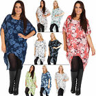 New Womens Stylish Italian Blossom Flower Print Baggy Tunic Top Plus Size 12 18
