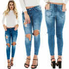 New Womens High Waist Stretch Skinny Faded Crinkle Pants Jeans Size 8 12 16