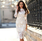 Vogue Women's White Lace Bodycon Formal Dress Cocktail Evening Party Long Sleeve