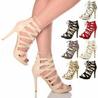 WOMENS LADIES HIGH HEEL CUT OUT LACE UP GLADIATOR GHILLIE SANDALS SHOES SIZE