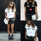 S-5XL Fashion Women Eyelash Lips Short Sleeve Casual Tee T-Shirt Tops Blouse