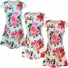 Girls Fitted Style Floral Print Mini Dress Kids Casual Summer Party Top 3-14 Y