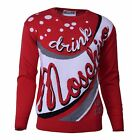 "MOSCHINO COUTURE RUNWAY Gestrickter Pullover Sweater ""Drink Moschino"" Rot 04469"