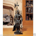 Fireplace Tool Hearth Set Black Knight Stand W 3 Tools Cast Iron Antique French