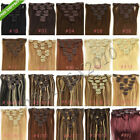 "Full Head Clips on/in 100% Remy Human Hair Extensions 100G 120G 24"" 26"" 28"" 30"""