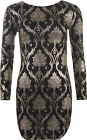 Womens Lurex Leaf Sparkle Print Long Sleeve Keyhole Back Ladies Bodycon Dress