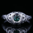 Solid 10K White Gold 4mm Round Genuine Tourmaline Carving Engagement Fine Ring