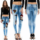 New Womens Distressed Patched Print Faded Slim Fit Skinny Denim Jeans Size 6 14