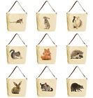 Rodent Family Beige Printed Canvas Tote Bag with Leather Strap WAS 29