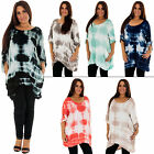 New Womens Italian Lagenlook Quirky Tie Dye Print Plus Size Top L 14 16 18 20 22