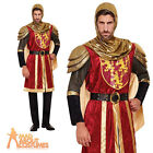 Adult Red Crusader Knight Costume Mens Medieval Warrior Fancy Dress Outfit New