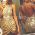Sequins Sexy Women Vintage Sleeveless Bodycon Sexy Party Evening Bar Mini Dress