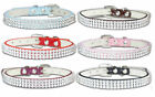 Rhinestone Dog Collar Diamante Pet Coller XX-Small Small Puppy Bling PU Leather