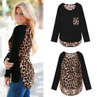 Womens Long Sleeve Leopard Print Top Shirt Black Hi-Lo Sexy Ealey Fushi Modern