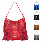 Ladies Fashion Fx Leather Tassel & Studded Handbag Shoulder Bag Grab Bag GN8578