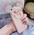 3D Luxury Bling Diamond Mickey Mouse Soft Clear Strap Case Cover for Cell Phones