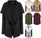 Womens Quilted Wet Look Long Sleeve Trim Open Waterfall Ladies Jacket Cardigan